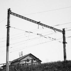 Olympus Mju II - Railway Building (Kojotisko) Tags: bw streetphotography brno creativecommons streetphoto rodinal fomapan100 mju2 olympusmjuii