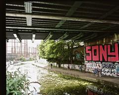 Regents Canal (I M Roberts) Tags: mediumformat graffiti urbanart regentscanal hackney eastlondon urbansetting mamiya7 kodakportra