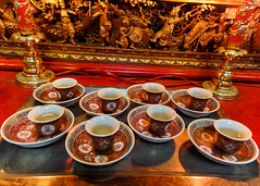 Tea for the gods (Canadian Dragon) Tags: red summer canada temple chinatown tour bc tea august victoria vancouverisland cups walkingtour 2015 dschx5c