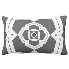 """""""poly bloom"""" black & white lumbar pillow (CMY-KEY) Tags: graphicdesign pattern homedecor bedding patterndesign cameronprather"""