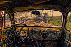 Shattered View (jackalope22) Tags: auto windows classic truck junk rust view decay blossoms rustbucket inside jalopy