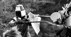 Breaking Lance (skippyclese) Tags: party horses blackandwhite bw white black history festival blackwhite nc north helmet fair fantasy armor lance carolina faire colored shield fighters fest joust legend armour helm breaking tilting 2015 festivaloflegends
