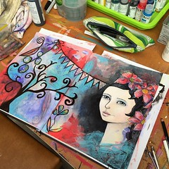 My first session in my new art studio. Feeling more like myself now.... Ahhhhhhhhh....back in my happy place. #feedingmyaddiction (Kylie Fowler AKA: Blissful Pumpkin) Tags: portraits square artwork mixedmedia squareformat whimsical howtodraw iphoneography instagramapp uploaded:by=instagram kyliefowler kyliepepyatfowler blissfulpumpkin kyliefowlercom howtopaintbigeyedgirlskyliepepyatkyliepepyatfowler
