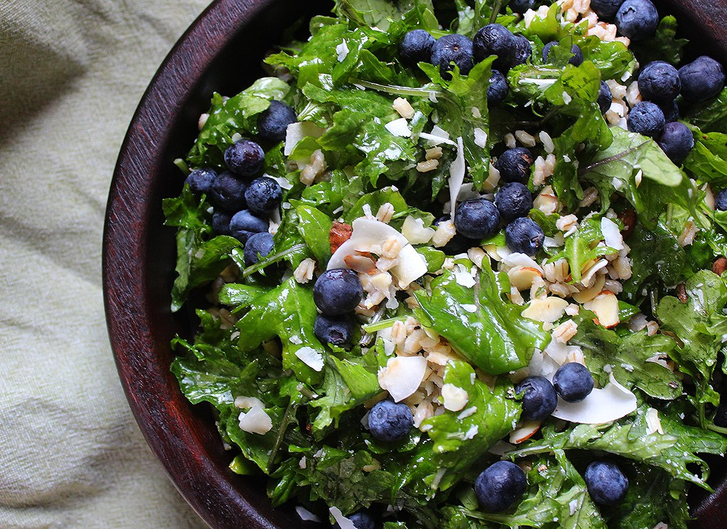Coconut Kale Salad with Blueberry, Barley & Almonds (Vegan Feast ...