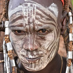 Mursi Warrior, Mago, Ethiopia (Rod Waddington) Tags: africa portrait face african painted traditional tribal national warrior afrika omovalley ethiopia tribe ethnic mago mursi ethnicity afrique ethiopian etiopia