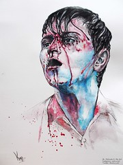 Alex Stoddard Painting (melispho) Tags: boy man art alex watercolor painting blood hungary surreal watercolour stoddard alexstoddard