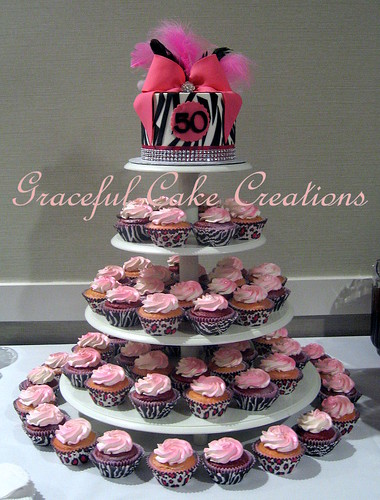 Pleasing Zebra Print Hot Pink And Bling 50Th Birthday Cake And Cupcakes Birthday Cards Printable Inklcafe Filternl