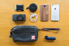 What's in My Bag (May 2015 Edition) (yusheng) Tags: camera apple phone wallet toast cellphone motorola change whatsinyourbag edc porter whatsinmybag nexus earbuds everydaycarry iphone htc murse tgt nexus6 stuffiown htcre iphone6plus