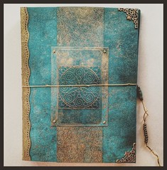 """Blue Book in progress.  Blank. 6"""" x 8"""".  Design influenced by 13th century books with illuminated manuscripts."""