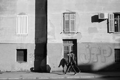 ... Going to school (Poo's Photography) Tags: shadow bw boys wall children closed tag croatia nb ombre zadar mur immeuble croatie ferm volet