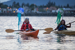 Large Jill Stein and Jade at Luminary flotilla at Break Free PNW 2016 photo by Alex Garland img_2176-2 (Backbone Campaign) Tags: water justice washington energy kayak break action politics protest creative paddle shell free social demonstration oil change wa environment activism anacortes campaign pnw refinery climatechange climate tesoro artful backbone renewable refineries 2016 kayaktivist kayaktivism breakfreepnw