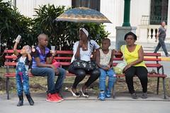 Under my umbrella - part 2 (Marija Vujosevic) Tags: park parque people bench faces gente cuba banco kuba