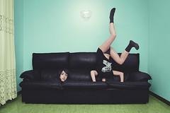 Agujeros negros (ngela Burn) Tags: black girl leather socks vintage und hole legs head pastel surreal levitation sofa nikita sixties leder misfits mehr