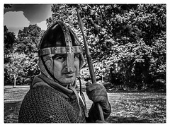 My Lucky Day (Reinardina) Tags: park trees portrait england people blackandwhite male monochrome person outdoor helmet streetphotography naturallight hampshire medieval foliage gloves armor warrior pike southampton combat armour chainmail thecommon reenactmentgroup photoborder