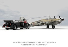 Mercedes-Benz W150 770 Grosser Cabriolet (1938 - 1943) & Messerschmitt Me 410 Heavy Fighter (1943) (lego911) Tags: mercedesbenz mercedes benz w150 770 grosser cabriolet 1938 1943 1930s 1940s luxury hitler third reich nazi germany german auto car moc model miniland lego lego911 ldd render cad povray supercharger supercharged lugnuts challenge 103 thefabulousforties fabulous forties foitsopmesserschmidtt me 410 fighter bomber aero airplane aeroplane aircraft luftwaffe ww2 wwii world war 2 ii air plane db603 db 603 v12