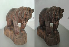 Carved Wooden Bear 1 3D Parallel View (HDR) (JonGames) Tags: bear wood sculpture brown animal mexico wooden stereogram 3d carving carve grizzly chisel parallel etch hdr