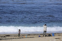 Father and son fishing on Carmel Middle Beach (LOLO Italiana) Tags: ca seascape beach fishing sand father son pacificocean carmel centralcoast twopeople oceanwaves redkayak carmelmiddlebeach