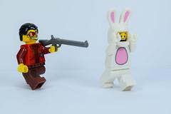 Lego rabbit chase (Alex THELEGOFAN) Tags: guy rabbit bunny lego suit chase