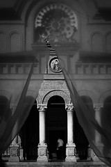 Lift the Veil of Silence (parenthesedemparenthese@yahoo.com) Tags: dem arcades bw blackwandwhite bricks church facade faade man nb noiretblanc briques bucarest canoneos600d columns day ef50mmf18ii entredeux homme inbetwenn indoors intrieur journe monastery monastre orthodox orthodoxe rosace rosewindow summer veil voile glise t colonnes