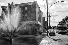 City Summers (D. Coleman Photography) Tags: city summer urban sun hot west bus philadelphia hydrant fun fire cool north sunny off heat block philly kensington septa cracked rowhome