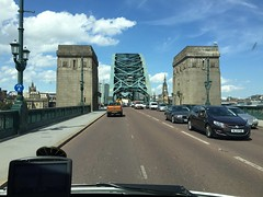 Tyne Bridge Approach (Paul.Bevan) Tags: old cars tarmac stone streetlight iron traffic steel transport bluesky gateshead tynebridge roadsigns innercity asphalt ontheroad citycentre rivercrossing newcastleupontyne cityviews greenbridge cabview whitclouds expreslighthaulage
