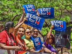 LGBT for Hillary (JMS2) Tags: people signs newyork message manhattan sony parade prideparade lgbt gaypride fifthavenue cause