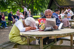 Don't tell me any more news (Ruth Flickr) Tags: uk summer england people food woman holiday man table reading coast newspaper estate norfolk royal july humour historic east sandringham tired seated resigned 2016 haezewindt