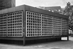 (Delay Tactics) Tags: street windows bw white black berlin film church glass architecture concrete grid memorial pattern squares stained repetition kaiser rule thirds wilhelm