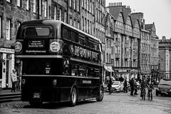 Edinburgh Ghost Bus (FEATURED ON EXPLORE) (Sue_Shaw) Tags: city blackandwhite bw bus monochrome canon vintage scotland edinburgh cityscape ghost nostalgic canoneos canon60d ghostbustour