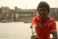 A boatman, near Vishram Ghat, at Mathura (ilovethirdplanet) Tags: people india river boatman mathura ind uttarpradesh