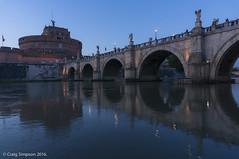 The Bridge of Saint Angelo, Rome, Italy. 22nd May 2016. (craigdouglassimpson) Tags: italy rome castles reflections bridges rivers tiber nightscenes castelsaintangelo pontesaintangelo