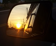 Sunset on Olden Ave (Tim Loesch) Tags: sunset nj rearviewmirror mercercounty ewing shootngwhiledriving