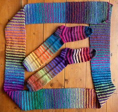 Finished! (pacific_rin) Tags: socks scarf rainbow stripes striped noro handknitting dropsdelight