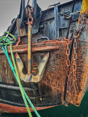 Landing craft bow & anchor ( Gillfoto) Tags: boat rust vessel rope chain anchor