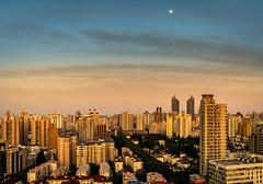 (Rob-Shanghai) Tags: moon sky shanghai china cityscape xinhualu puxi a6000 sony pano warm glow