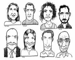 Eight humanoids (Don Moyer) Tags: moleskine face ink notebook grid faces drawing moyer brushpen donmoyer