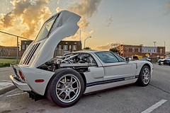 Ford GT (brev99) Tags: auto street sunset ford car fence tulsa gt carshow colorefex d7100 bradyartsdistrict sigma1770os topazclarity hdrefexpro photoshopelements12 midamericacarshow