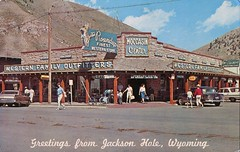 The Roundup, Western Family Outfitters, Jackson Hole, Wyoming (SwellMap) Tags: architecture vintage advertising design pc 60s fifties postcard suburbia style kitsch retro nostalgia chrome americana 50s roadside googie populuxe sixties babyboomer consumer coldwar midcentury spaceage atomicage