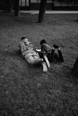 In the park next to the Kremlin Wall. Moscow. 06.2016 (Woodent) Tags: park bw film moscow streetphotography teenagers diafine 800 olympus35rc kodaktrix400
