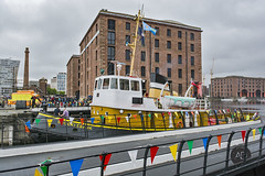 Old timers day out (alun.disley@ntlworld.com) Tags: city tourism weather architecture liverpool transport tugboat swingbridge albertdock rivermersey brocklebank portsandharbours