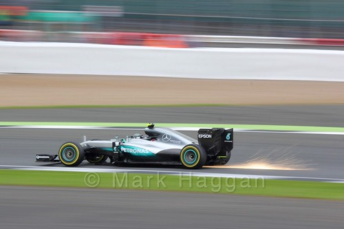Nico Rosberg creates some sparks in his Mercedes in qualifying at the 2016 British Grand Prix