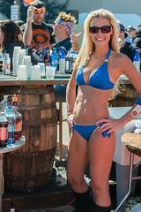 Blue Bikini Bartender (Ron Scubadiver's Wild Life) Tags: street woman galveston star texas candid rally bikini lone biker swimwear 24120
