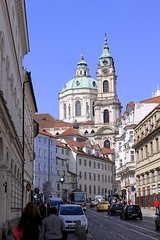 Kostel sv. Mikule (oxfordblues84) Tags: blue sky people building clock church car architecture buildings europe prague bluesky tourists clocktower pedestrians czechrepublic baroque malastrana churchofstnicholas kostelsvmikule baroquearchitecture vikingrivercruise baroquechurch christophandkilianignazdientzenhofer