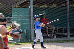 Without a doubt that's a strike. (kennethkonica) Tags: blue red people usa motion color green sports grass kids america fence outdoors team movement nikon midwest baseball action random indianapolis caps hats indiana games cubs uniforms reds boysofsummer littleleague beechgroveindiana nikond7100 beechgrovelittleleague