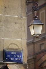Rue (Katka S.) Tags: street city house paris france lamp sign architecture corner de la capital letters letter notre dame isle cite