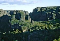 Between Mt Owen and Mt Cole from Mt Niebelung, Budawang National Park, NSW, May, 1971. (garratt3) Tags: aus bushwalking budawangs film pentax mortonnationalpark wilderness australia kodachrome newsouthwales