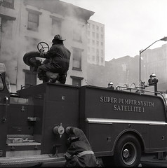 20160505-throwbackthurs1968-005 (Official New York City Fire Department (FDNY)) Tags: york nyc rescue building water truck vintage fire manhattan smoke flames ladder 1960s firefighting firefighter fdny tbt new city fire engine truck thursday suppression throwback
