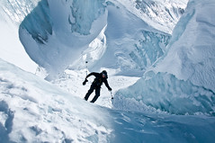 Dan cruising through the crevasse (wesbl) Tags: travel italy ski france alps switzerland europe skiing geneva backcountry chamonix montblanc offpiste backcountryskiing chamonixmontblanc