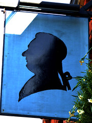 Bobbin (Draopsnai) Tags: blue portrait man silhouette cameo bobbin lambeth pubsign lillieshallroad