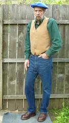 5-17-2016 Today's Clothes (Michael A2012) Tags: hat vintage dr style jeans mens denim vest beret corduroy waistcoat martens woolens